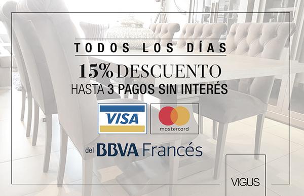 Todos los días 15% de descuento hasta 3 pagos sin interés con Visa y Master del BBVA